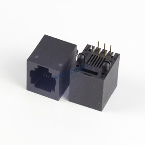 RJ11 Modular Jack 6P6C Top Entry PCB Mount Connector without Panel Stop