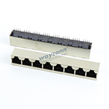 Shielded RJ45 1X8 Vertical Mount, Top Entry
