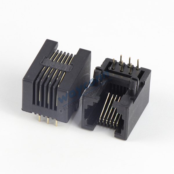 RJ12 PCB Socket Connector, Side Entry, 6P6C
