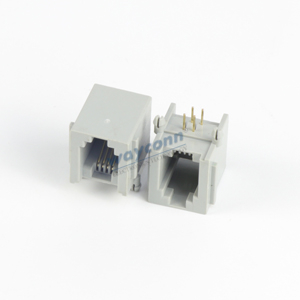RJ11 4P4C PCB Socket Female Connector, Right Angle, Length 15mm