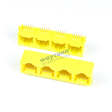 1X4 RJ45 Connector, PCB Mount, Right Angle, 8P8C