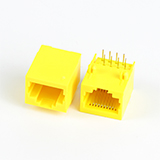 Right Angle Low Profile RJ45 10P8C Modular Jack Yellow