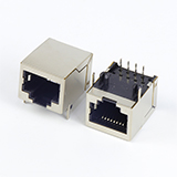 Shielded RJ45 PCB Mount Connector 10P8C R/A