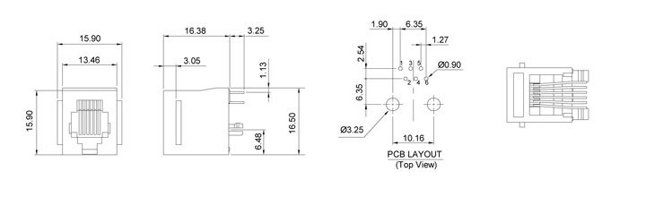 Drawing for RJ11 Modular Jack 6P6C Top Entry PCB Mount