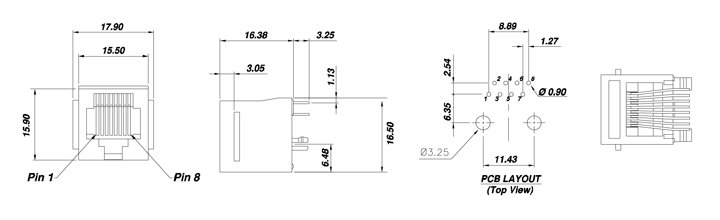 Drawing for Vertical RJ45 Connector with Panel Stop 8P8C Single Port Unshielded