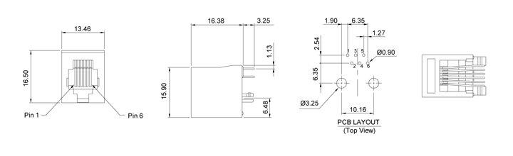 Drawing for RJ12/RJ25 6P6C Vertical Mount Modular Jack