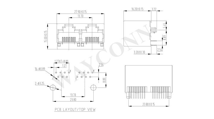 Drawing for 1X2 RJ45 Modular Jack Top Entry Unshielded
