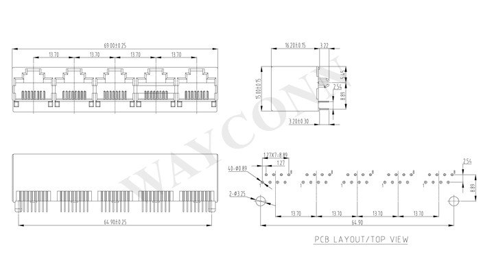 Drawing 1X5 RJ45 Top Entry Modular Jack Unshielded