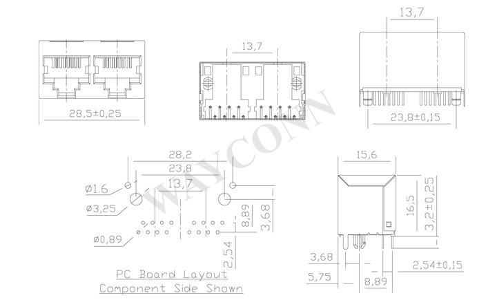 Drawing for RJ45 1X2 Vertical Mount Modular Jack Shielded