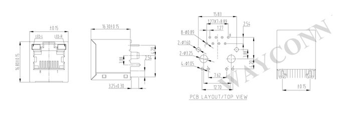 Drawing for Vertical RJ45 Wth Leds, Shielded 8P8C