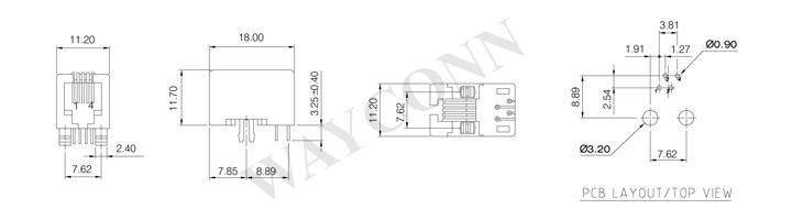 Drawing for RJ12 PCB Socket Connector, Side Entry, 6P6C
