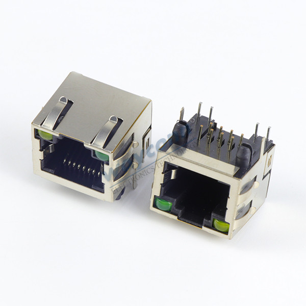 RJ45 Modular Jack, 8PIN, Side Entry, w/ LEDs