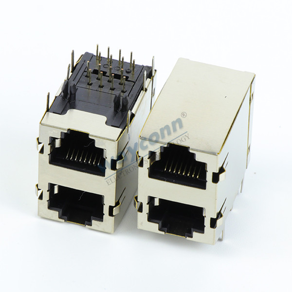Stacked RJ45 Connector, 2X1 2 Port, Modular Jack, Shielded
