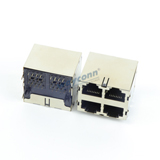 2X2 Stacked RJ45 Modular Jack Connector, Shielded, R/A