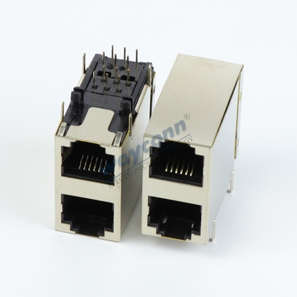 2X1 Stacked RJ11 Connector Jack 6P6C w/ Shield