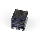 RJ11 Stacked 2X2 Modular Jack Connector, 6P6C, Unshielded