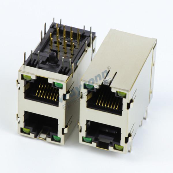 Stacked RJ45 Modular Jacks 2X1 w/ LED (Y/G) & EMI