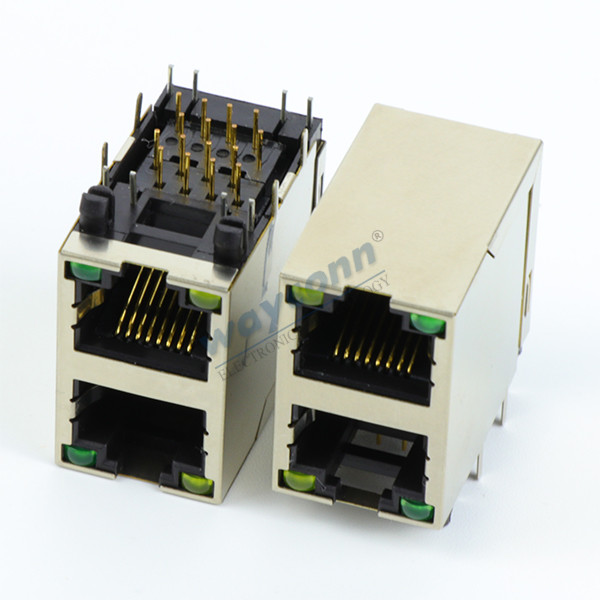 2X1 RJ45 Stacked Connectors, Modular Jack, Shielded with LED
