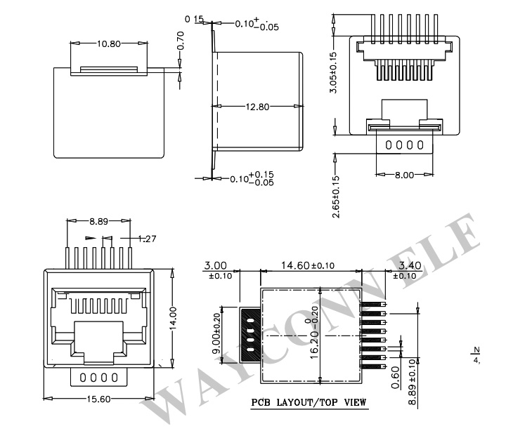 RJ45 SMT/SMD Vertical Modular Jack Connector, 8-PIN PCB Layout