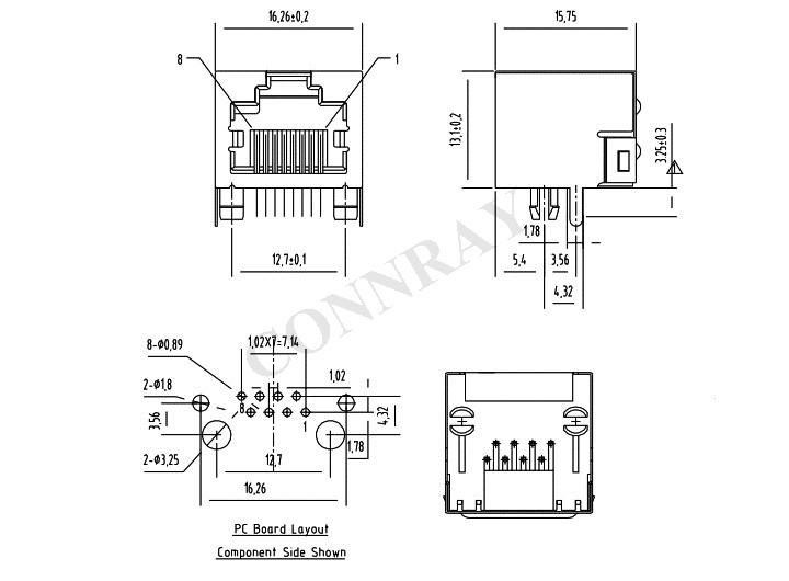 RJ45 Side Entry PCB Mount Mod Jack Conn PCB Layout & Dimensions