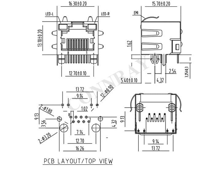 RJ45 Modular Jack, 8PIN, Side Entry, w/ LEDs, w/EMI