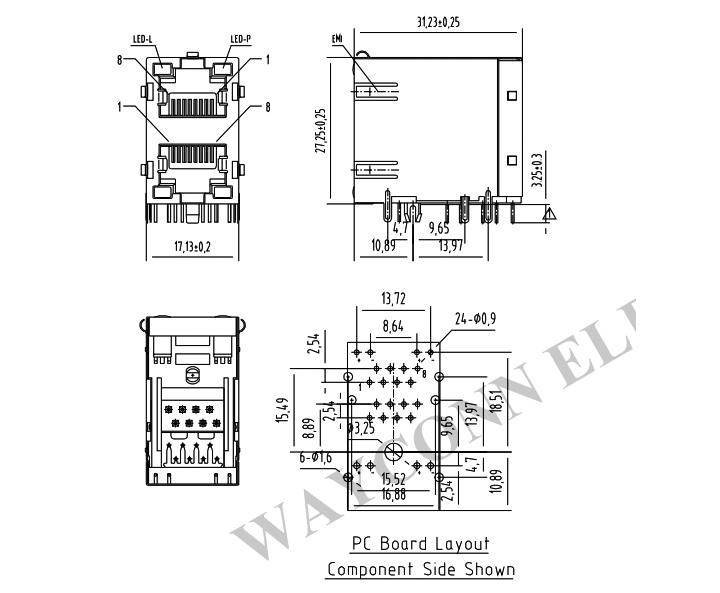2X1 Stacked RJ45 Modular Jacks w/ LED (Y/G) & EMI PCB Layout