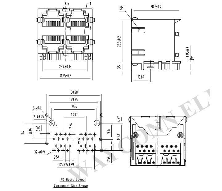 2X2 Stacked RJ45 Modular Jack Connector PCB Layout