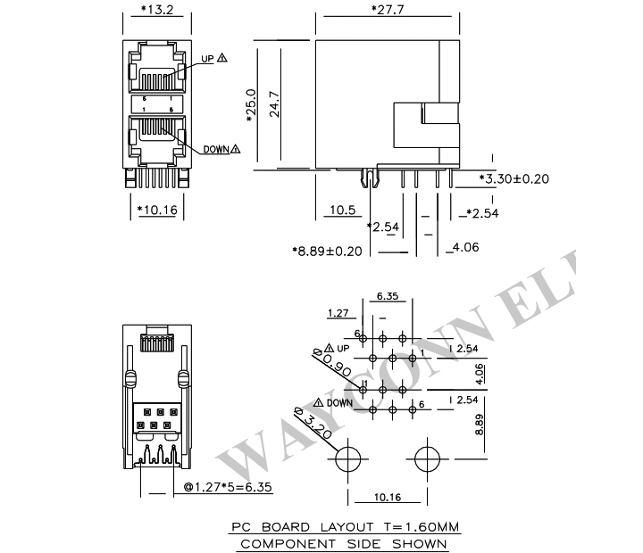 Stacked RJ11 2X1 PCB Socket Connector, 6PIN, Unshielded PCB Layout