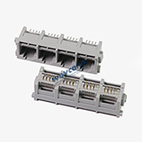 Vertical RJ45 1X4 Modular Jack Connector, 180 Degree, Unshielded