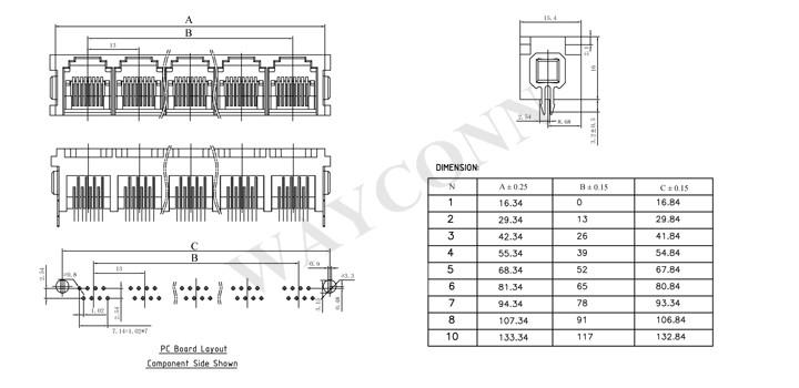 Datesheet for Vertical RJ45 1X4 Modular Jack Connector