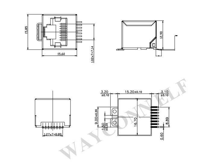 Shielded RJ45 SMT Vertical Drawing