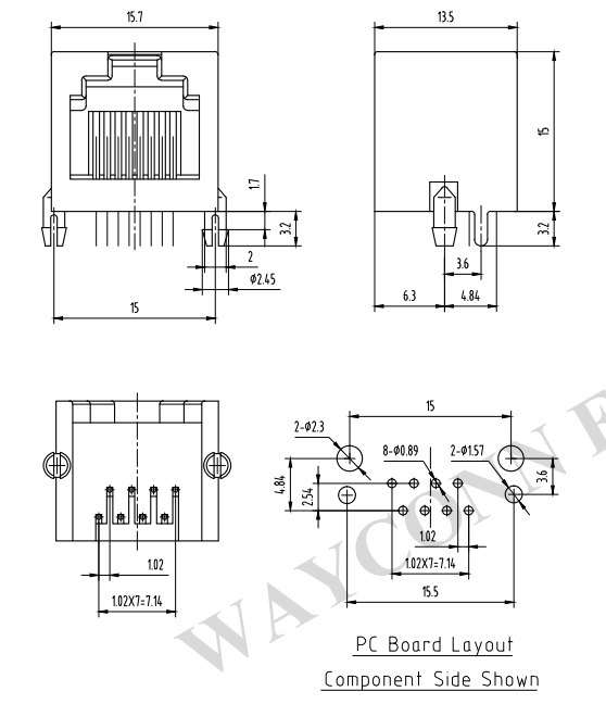 Rj45 Connector Drawing