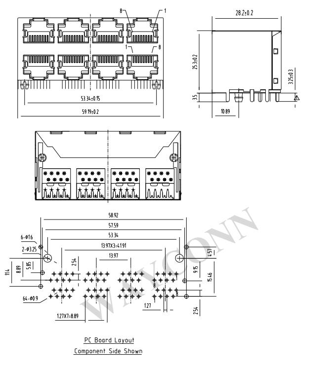 Shielded RJ45 2X4 Modular Jack Drawing
