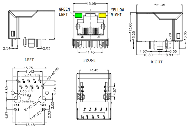 1 Port RJ45 Magjack Connector, 1000Base-T Drawing