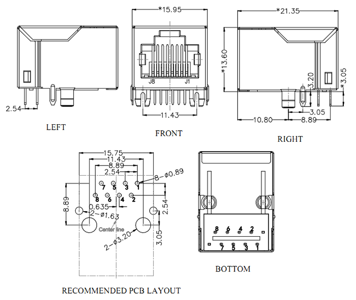 10/100 Base-T RJ45 Socket with Magnetics Drawing
