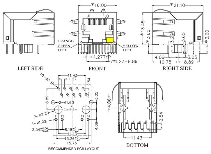 1000Base-T Magnetic RJ45 Modular Jack, Bi-Color LED Drawing