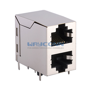 Stacked 2X1 RJ45 with transformer, 10/100 BaseT, Shielded w/o LED