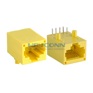 Yellow RJ45 Jack with Transformer, Unshielded, 8P8C