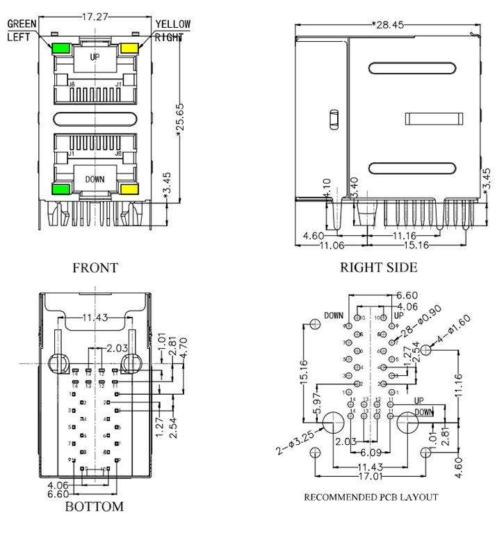 Mechanical Drawing Magnetic RJ45 2X1 Led