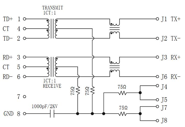 Schematics Magnetic RJ45 2X1 Led, 10/100 Base-T
