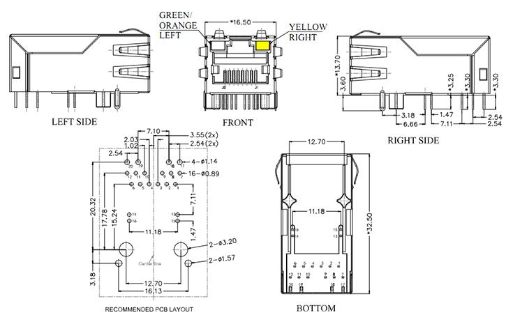 RJ45 with POE Magnetics Jack Gigabit Ethernet Connector Drawing