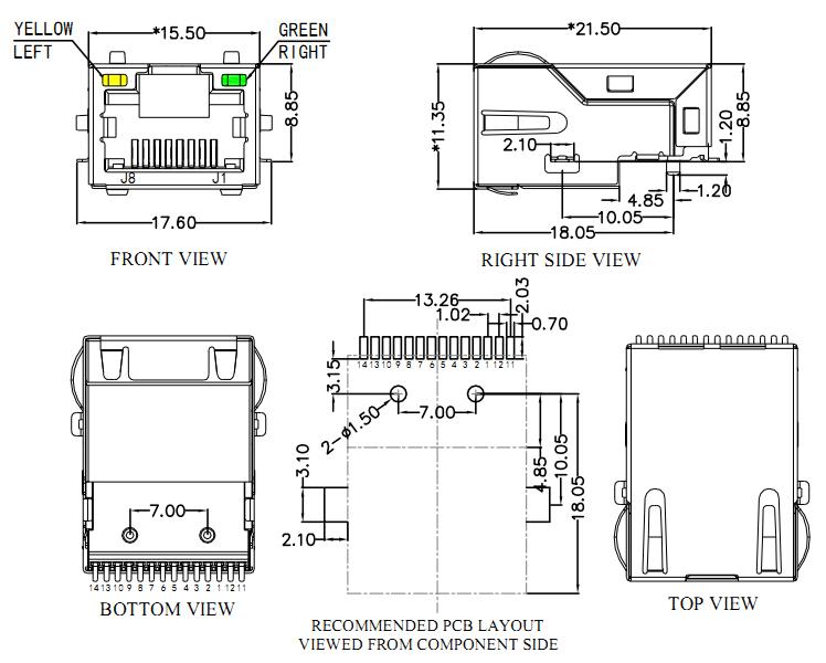 Gigabit RJ45 SMT/SMD Magnetic Jack, Low Profile Offset Type