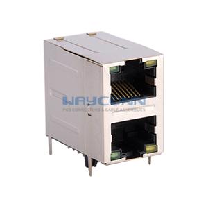 Magnetic RJ45 2X1 Connector, 10/100 BaseT, Shielded w/ LED