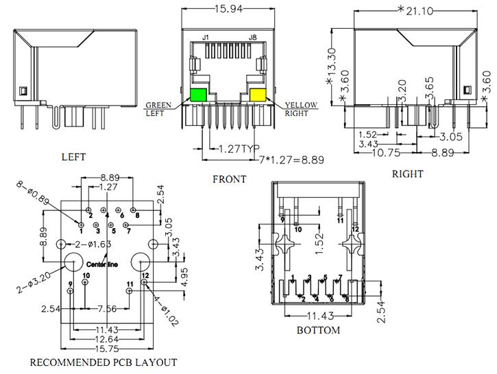 rj45 10p10c transformer led mechanical