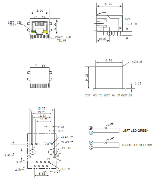 RJ45 Connector with Transformer, Shielded w/ LED & EMI Drawing