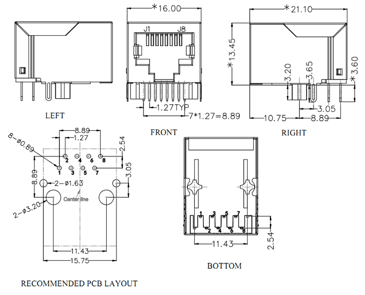 RJ45 with Integrated Transformer Mechanical Drawing