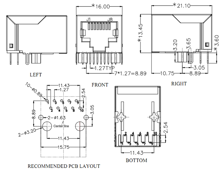 RJ45 Jack with Magnetics, 1000Base-T, 10PIN Drawing