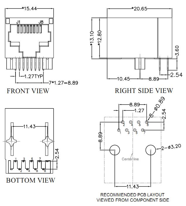 RJ45 Socket With Transformer, Single Port Unshielded Mechanical Drawing