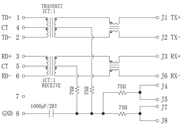 RJ45 Socket With Transformer, Single Port Unshielded Schematics