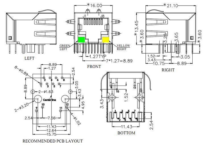 RJ45 with Transformer Modular Jack, Shielded w/LED(G/Y), EMI Mechanical